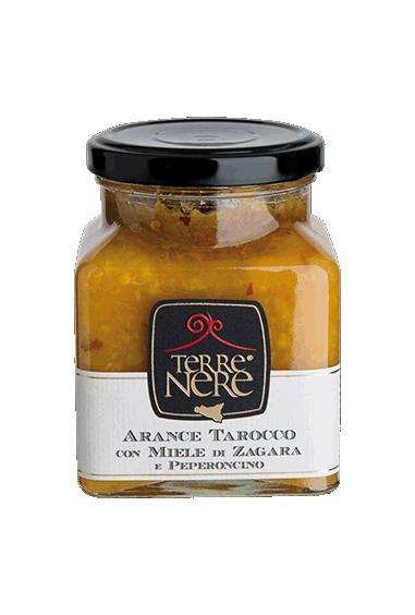 Arance tarocco con miele di zagara e peperoncino 120 gr