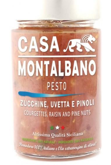 Pesto con zucchine, uva passa e pinoli