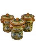 Barattoli Zucchero, Caffè e Sale in Ceramica di Caltagirone