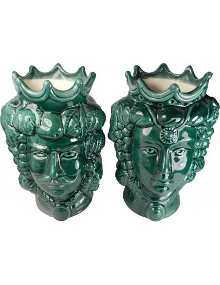 Coppia teste di Moro verde bottiglia