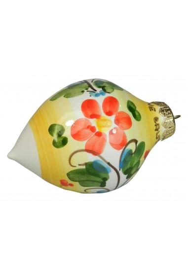 Palla di Natale di Ceramica di Caltagirone a punta gialla