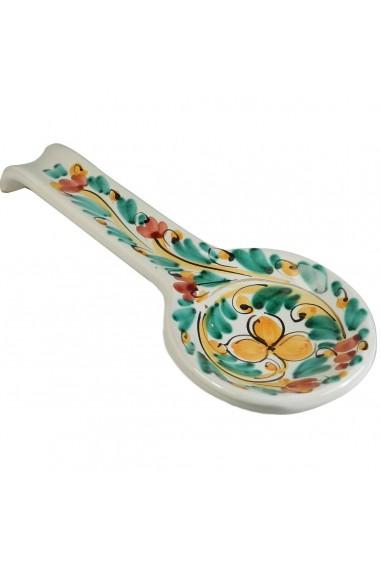Poggia mestolo in Ceramica di Caltagirone decori verdi e gialli