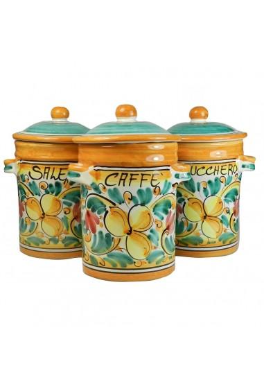 Tris di Barattoli Sale Zucchero Caffè in Ceramica di