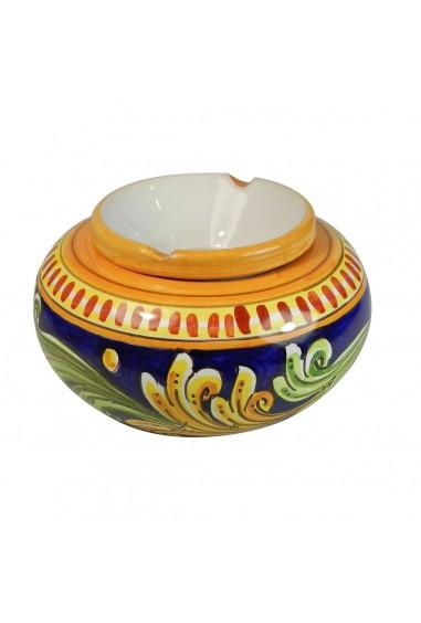 Posacenere in Ceramica di Caltagirone blu grande h 20 cm