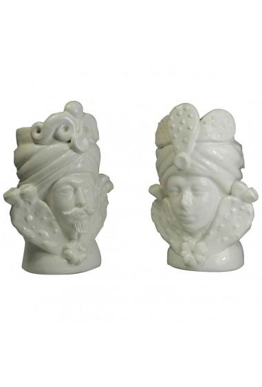 Coppia Teste di Moro Ceramica di Caltagirone bianche h 17 cm