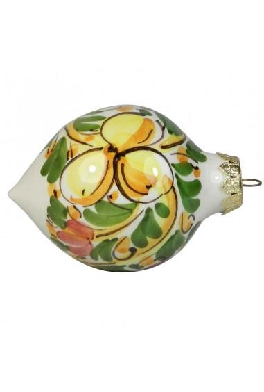 Palla di Natale di Ceramica di Caltagirone a punta con fiore