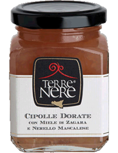 Cipolle dorate con miele di zagara e Nerello Mascalese