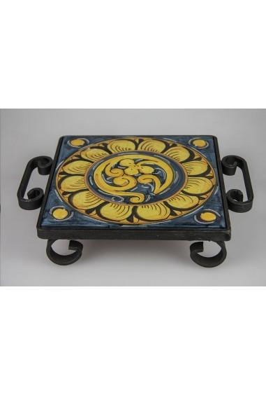 Portapentola in Ceramica di Caltagirone Cornice in Ferro battuto